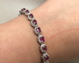 (B5) Alluring Natural 65.5tcw.  Ruby Bracelet