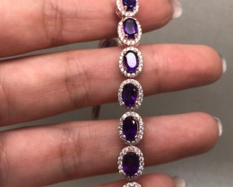 (B5) Wonderful Nat 77.3tcw  Top Rich Purple Amethyst Bracelet