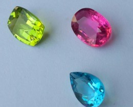 4.65 CTS GENUINE NATURAL ULTRA RARE COLLECTION TOURMALINE,PERIDOT,TOPAZ NR
