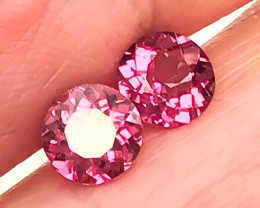 5mm CRIMSON PINK PAIR OF RHODOLITE GARNETS JEWELLERY GRADE