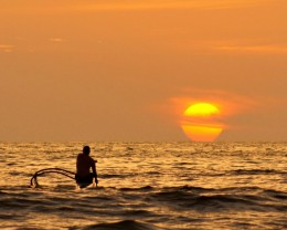 Sunset paddler..  Big Island, Hawaii.