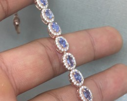 (B2) Striking Nat 68.1tcw. Top Nice Blue Tanzanite Bracelet
