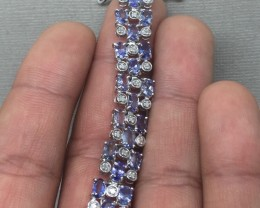 (B2) Superb Nat 80.5tcw. Top Nice Blue Tanzanite Bracelet
