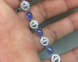 (B2) Ravishing Nat 50.5tcw. Top Rich Blue Tanzanite CZ Bracelet