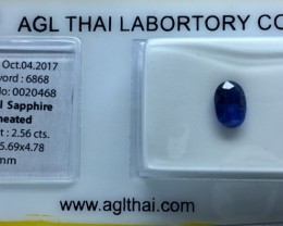 2.56 Ct Agl Certified Unheated Sapphire With Stunning Luster