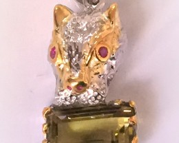 Extraordinary Cat Lemon Quartz Ruby Sterling Pendant