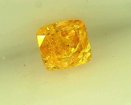 0.17ct Fancy Intense Orangish Yellow Diamond , 100% Natural Untreated