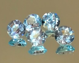 5.05cts Premium gem parcel of Blue Topaz gems 6.00mm VVS 7 gems