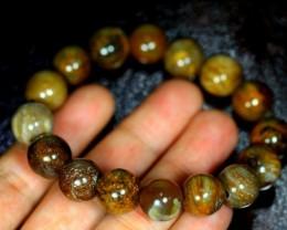 224.5Ct Natural petrified wood 16-Bead Bracelet