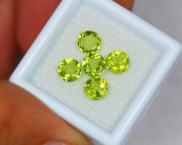 3.29Ct Natural Green Peridot Round Cut Lot V767
