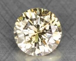 0.14 Cts Natural Light Yellow Diamond Round Africa