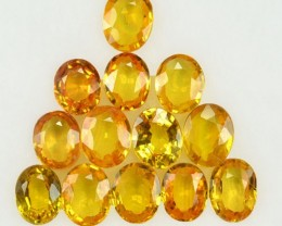 5.21 Cts Natural Canary Yellow Sapphire Oval Cut 13 Pcs Parcel