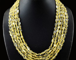 Genuine 580.00 Cts 5 Line Citrine Beads Necklace