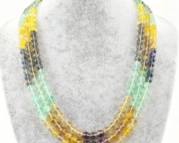 Genuine 608.50 Cts Multicolor Fluorite 3 Strands Necklace