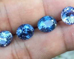 spinel parcel 4 blue eye clean  stones. 12 carats.