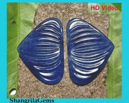 52.2ct 31.5mm Blue Sapphire Pair hand carved in Jaipur