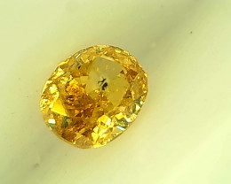 0.16cts  Fancy Vivid Orangish Yellow Diamond , 100% Natural Untreated