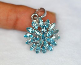 21.70Ct Sterling Silver 925 Natural Blue Zircon Pendant V892