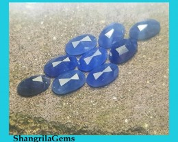 9 7mm by 4mm Blue Sapphire oval rose cut gems parcel of  9