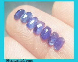 7 5mm by 3mm Blue sapphire cushion rose cut parcel of 7
