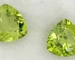 Btight Lime Green Trillion Cut Pair Of Peridots - Pakistan