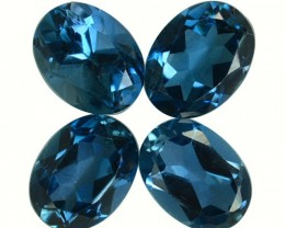 6.05 Cts Natural London Blue Topaz Oval Cut 4 Pcs Parcel