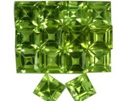 5.13 Cts Natural Pakistan Green Peridot 4 mm Square 14 Pcs Parcel