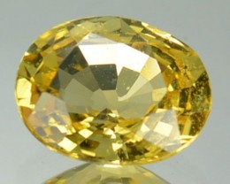 CERTIFIED 1.37 Cts Natural Corundum UNHEATED Yellow Sapphire Oval