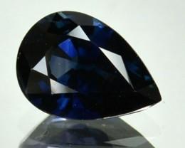 CERTIFIED 1.50 Cts Natural Corundum UNHEATED Blue Sapphire Pear