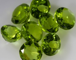 6.95 CTS 6 MM ROUND CUT PERIDOT 8 GEMS [STS1032]