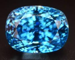GIL CERT 13.80 ct SUPERB COLOR VIBRANT BLUE ZIRCON