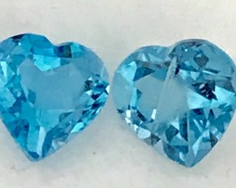 Beautiful Pair Of Bright Swiss Blue Heart Shape Topaz