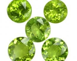 5.52 Cts Natural Pakistan Green Peridot 6.50 mm Round Pakistan 5 Pcs Set