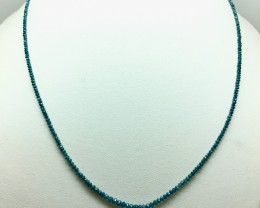 15.0Crt Natural Green Diamond  Faceted Beads Necklace With Silver