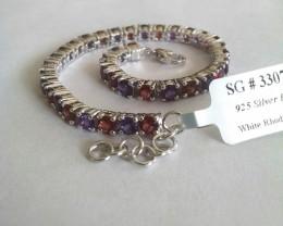 Amethyst, Garnet 925 Sterling silver bracelet #33074