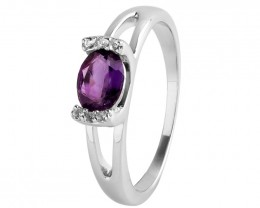Amethyst 925 Sterling silver ring #672