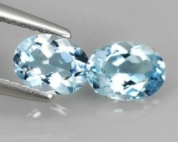 1.45 Cts Pleasant Oval Cut 100% Natural Blue Aquamarine 2 pcs NR!!!