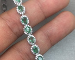 (B4) Superb Nat 65.5tcw. Top Rich Green Brazilian Emerald CZ Bracelet