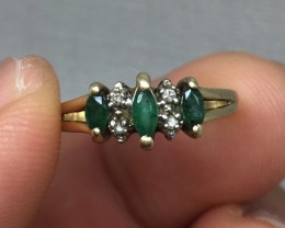 Amazing $1500 Nat 1.00cts Emerald & Diamond Ring 10K Sol Gold