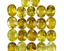 10.55 Cts Natural Canary Yellow Sapphire Oval Cut 22 Pcs Parcel