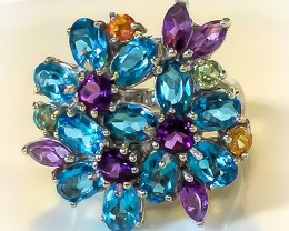 A MAGNIFICENT Swiss Blue Topaz, Sapphire, Amethyst Ring Size 9.5 NR