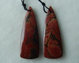 Nice Cut Triangle Multi-color Picasso Jasper Drriled Earring Beads 41x14x4m