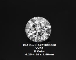 0.30ct D color VVS2 GIA certified White Diamond