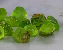 100 Ct Natural - Unheated Superb Green Peridot Crystal Rough Lot
