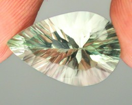 5.84ct Pastel Mint Green Natural Concave Cut Fluorite Gem VVS