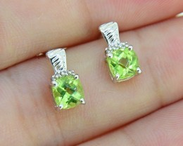 Natural Peridot 925 Sterling Silver Earrings (SSE0242)