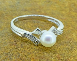 N/R Genuine Pearl 925 Sterling Silver Ring (SSR0082)