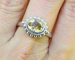 N/R Natural Citrine  925 Sterling Silver Ring (SSR0124)