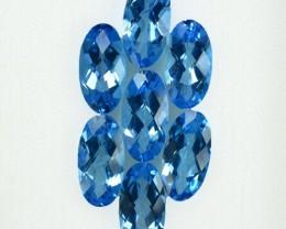 9.88 Cts Natural Blue Topaz Oval Cut 7 Pcs Parcel