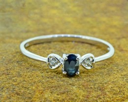 Natural  Blue Sapphire 925 Sterling Silver Ring (SSR0340)